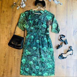 Vintage 1950s Green Rose Wiggle Dress with Belt